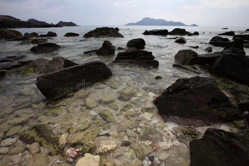 Rotsen op strand royalty-vrije stock foto's