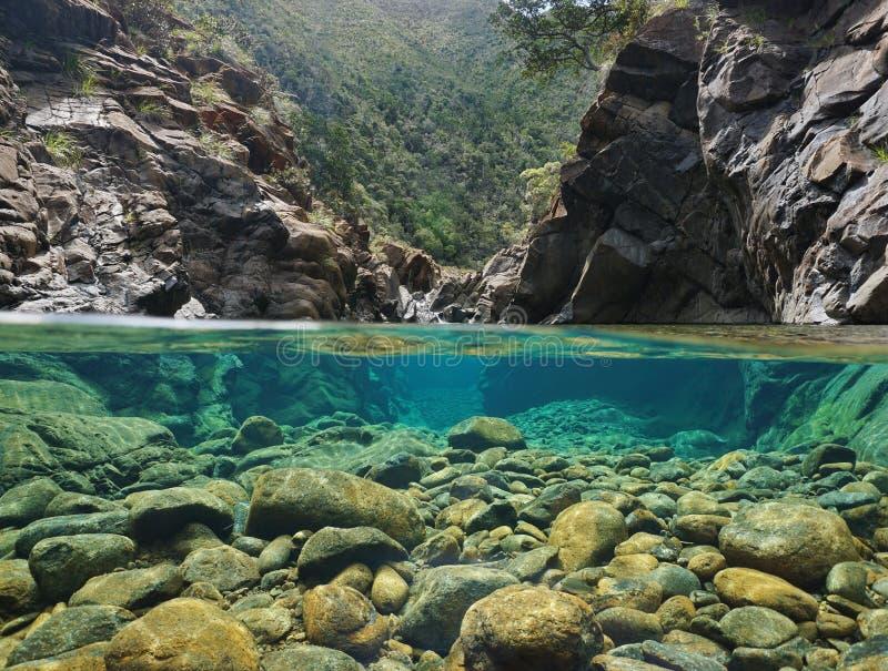 Rotsen over en onder het water in een rivier royalty-vrije stock afbeelding