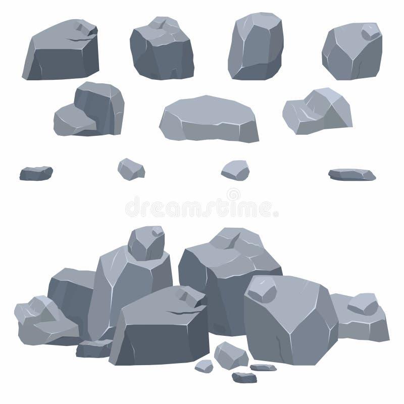 Rotsen, steneninzameling Verschillende keien in isometrische 3d vlakke stijl stock illustratie