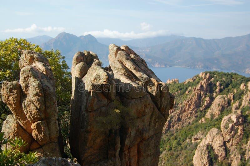 Rotsen van Calanche DE Piana in Corsica stock foto