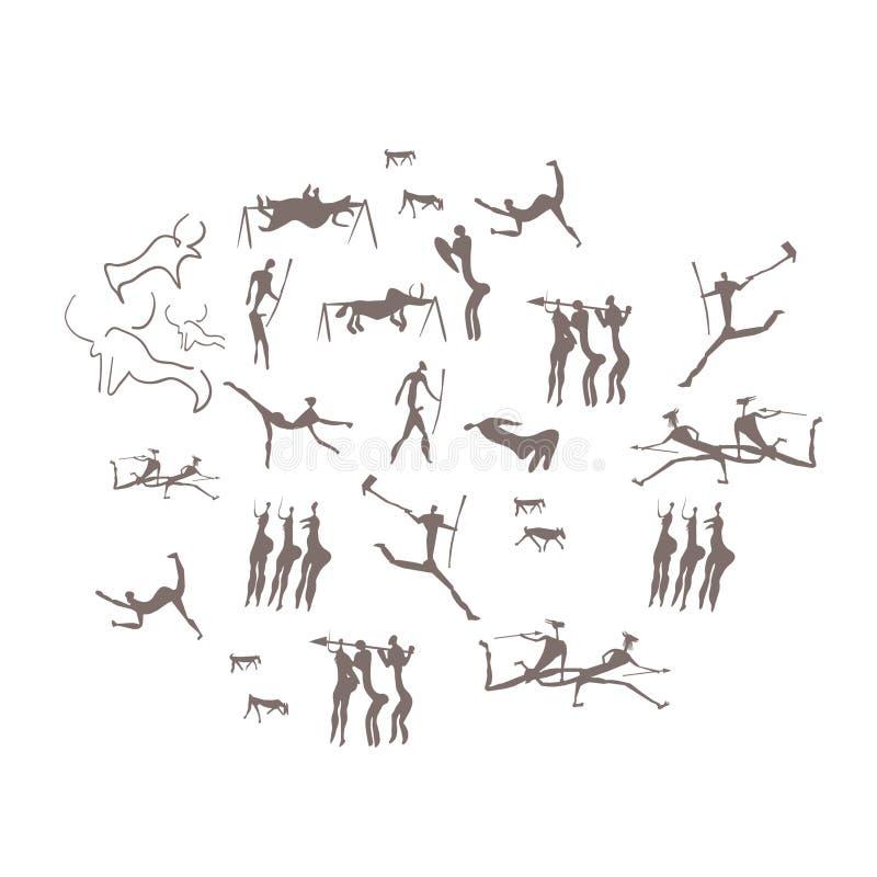 Rotsgravures, rotstekeningen, mensen, uitgravingen vector illustratie