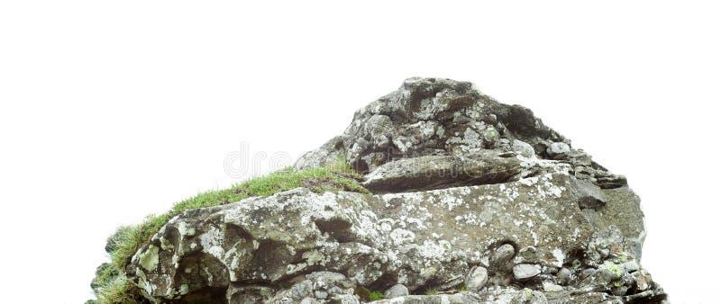 Rotssteen op witte achtergrond wordt geïsoleerd die stock afbeeldingen