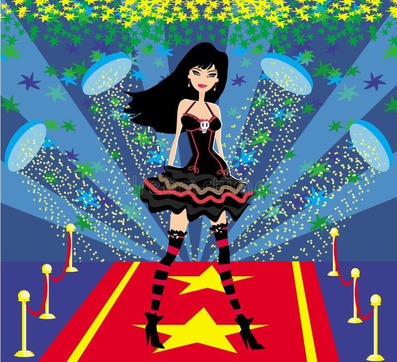 Rotsster op een rood tapijt vector illustratie