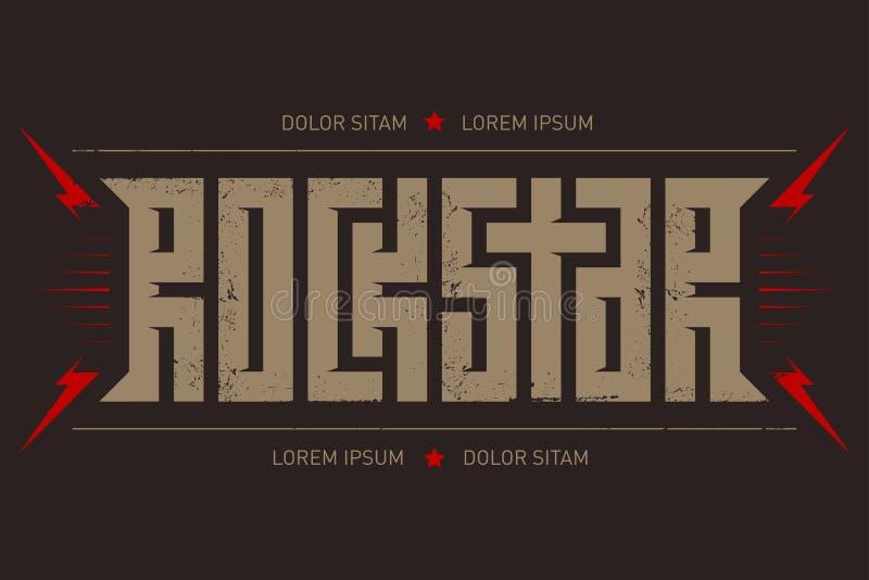 Rotsster - t-shirtontwerp De t-shirtkleding koelt druk Rocksta stock illustratie
