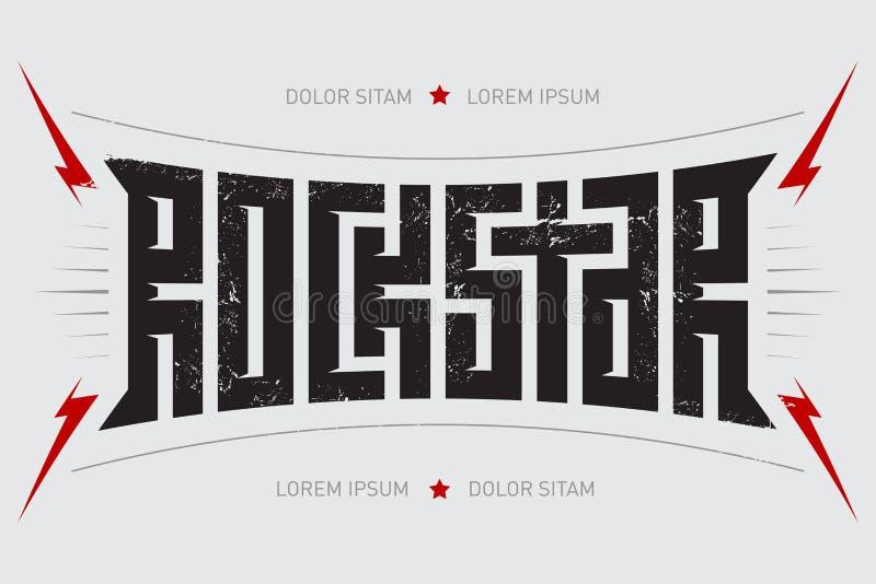Rotsster - t-shirtontwerp Rockstar - muziekaffiche met rode lig stock illustratie
