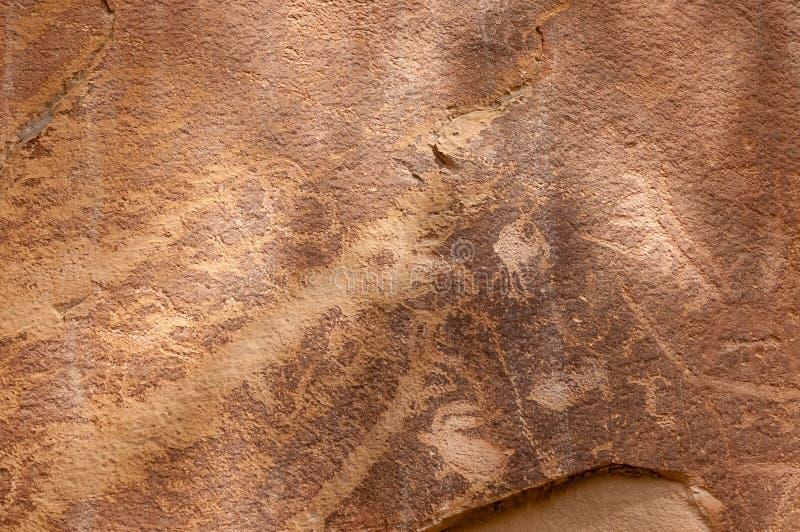 Rotstekening of rotskunstgravures in Freemont, Utah stock fotografie
