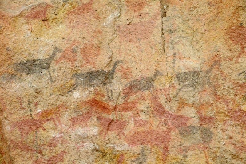 Rotstekeningen op een holmuur royalty-vrije stock afbeeldingen