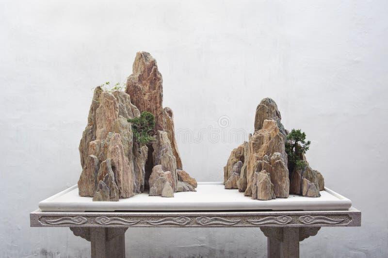 Rotsvertoning bij de Tuin van de Paar` s Terugtocht, Suzhou, China stock afbeeldingen