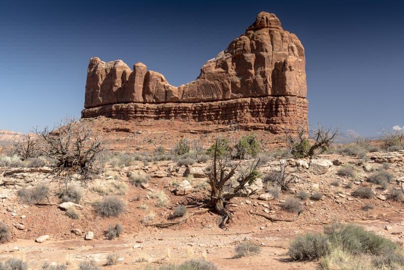 Rotsvorming en woestijnborstel, Bogen Nationaal Park Moab Utah stock afbeeldingen