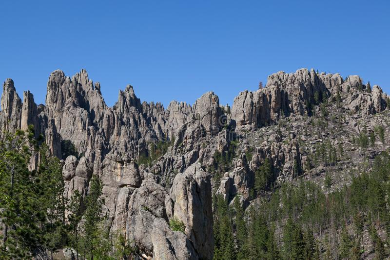 Rotsvormingen in Custer State Park stock foto