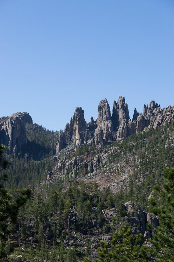 Rotsvormingen in Custer State Park stock afbeeldingen