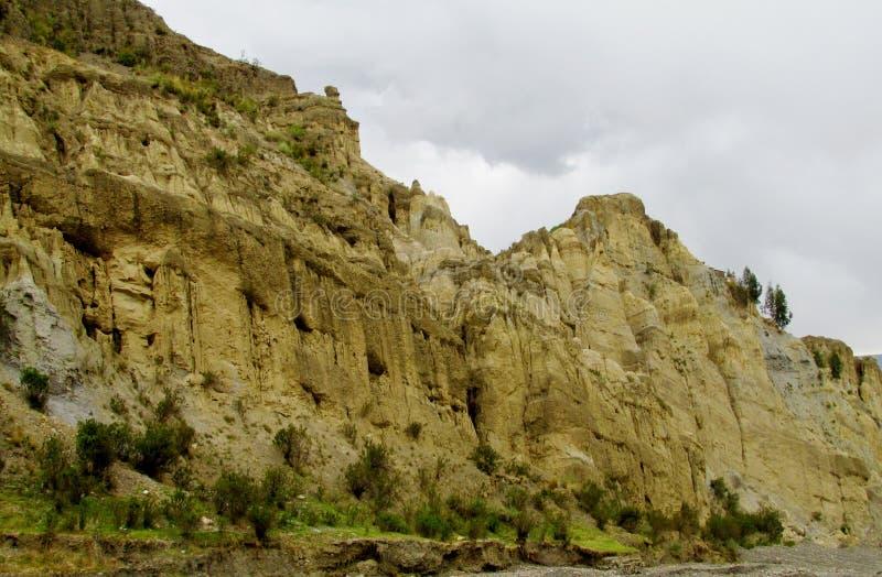 Rotsvormingen dichtbij La Paz in Bolivië royalty-vrije stock foto