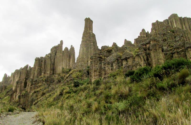 Rotsvormingen dichtbij La Paz in Bolivië royalty-vrije stock afbeeldingen