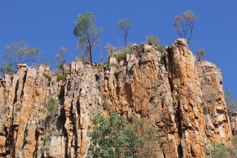 Rotsvormingen in Katherine Gorge in Australië stock foto