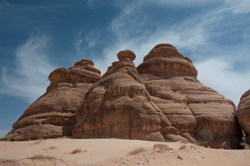 Rotsvormingen in Madain Saleh, Saudi-Arabië royalty-vrije stock fotografie