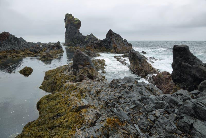 Rotsvormingen in zwart zandstrand van Djupalonssandur stock afbeeldingen