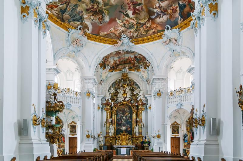 Rott Abbey, Germany. Rott Abbey was a Benedictine monastery in Rott am Inn in Bavaria, Germany. Rococo style interior stock photos