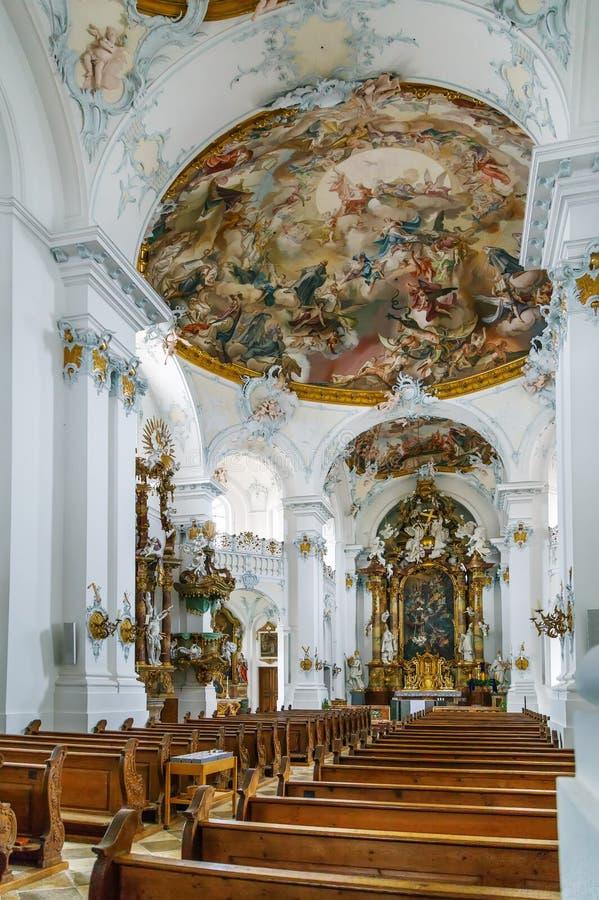 Rott Abbey, Germany. Rott Abbey was a Benedictine monastery in Rott am Inn in Bavaria, Germany. Rococo style interior stock photo