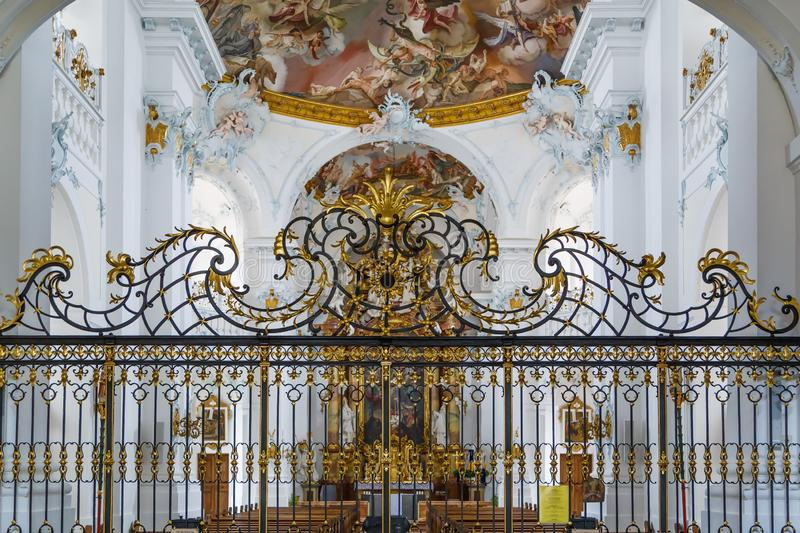 Rott Abbey, Germany. Rott Abbey was a Benedictine monastery in Rott am Inn in Bavaria, Germany. Rococo style interior stock images