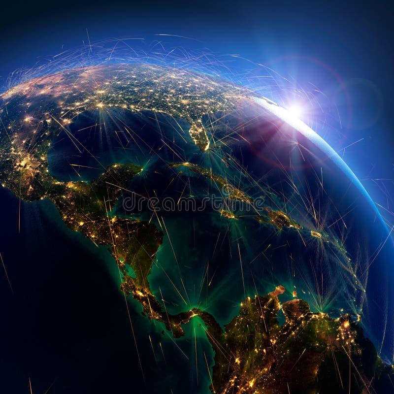 Rotte aeree dettagliate su terra I paesi dell'America Centrale rappresentazione 3d illustrazione di stock