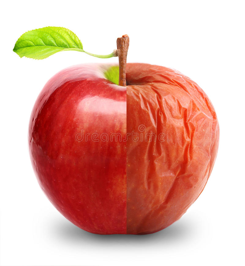 Rotte en verse geïsoleerde appel stock foto's