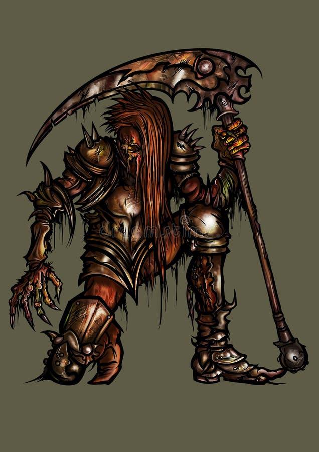 Rotte ridder in roestig pantser royalty-vrije illustratie