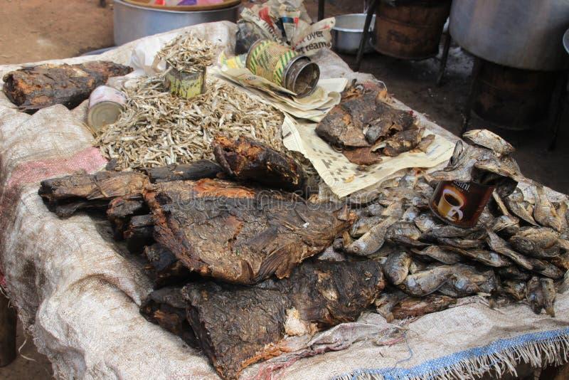 Rotte vissen met vliegen op de teller in één van de slechtste gebieden van Afrika - Kibera, Nairobi, royalty-vrije stock foto