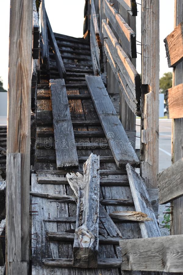 Rotten Cattle ramps at Fort Worth Stock Yards. These are no longer used cattle ramps at the Fort Worth Stock yards stock photography
