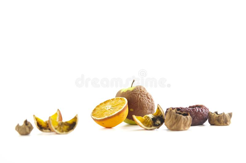 Assorted rotten fruits royalty free stock images