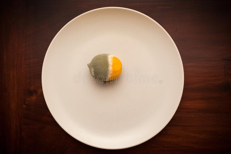 Rotten lemon on a plate. Shot of rotten lemon on a plate royalty free stock photos