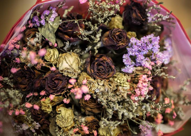 Rotten rose and flower like love of men stock photo