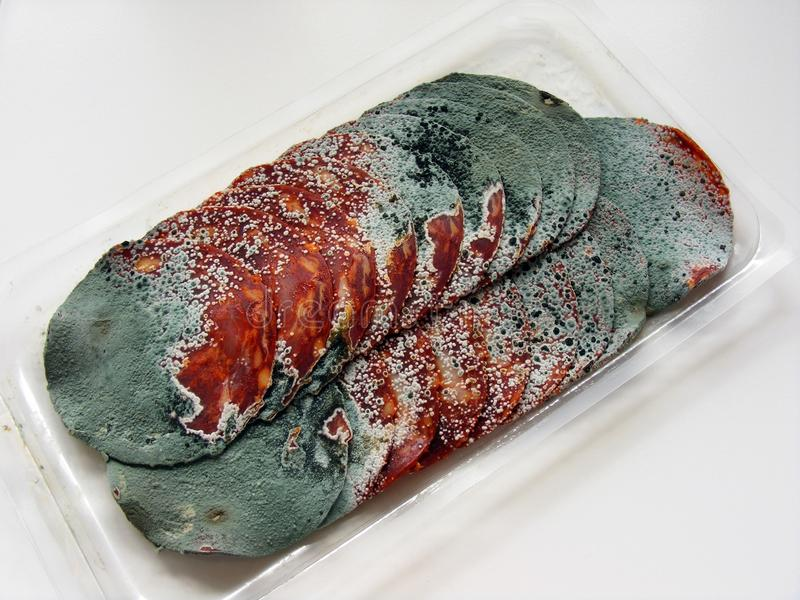 Rotten salami meat royalty free stock image
