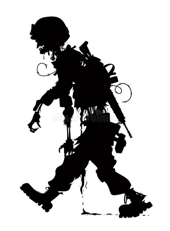 Rotten zombie silhouette soldier vettor. Rotting zombie soldier vector silhouette vector illustration