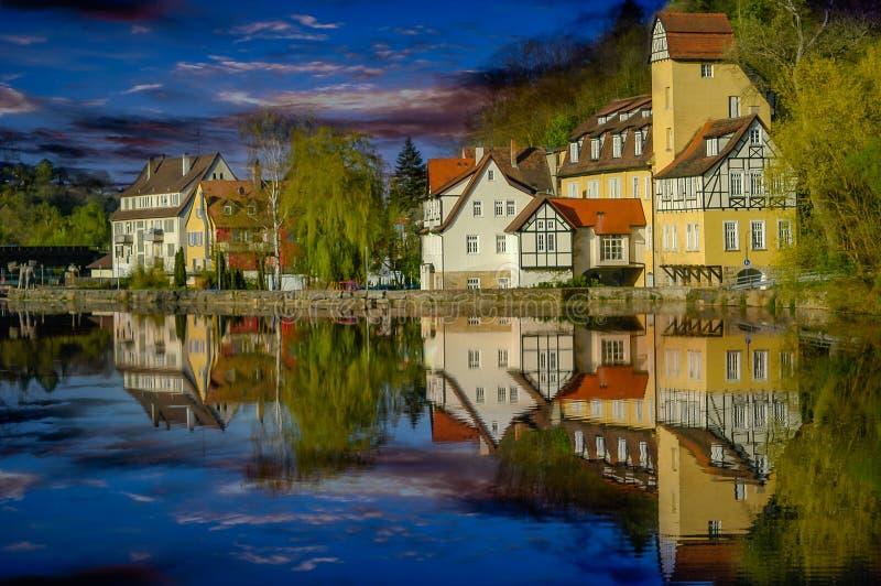 Rottenburg vid floden Neckar royaltyfri fotografi