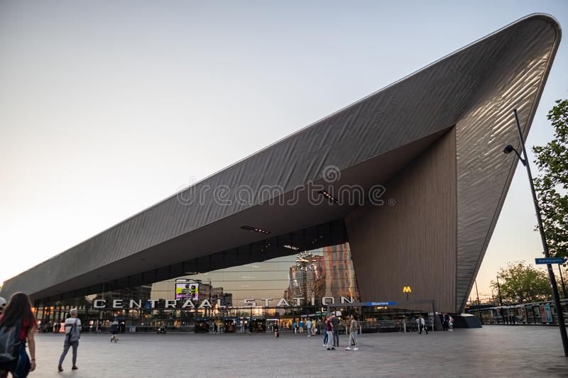 Rotterdam Centraal, Central station building entrance stock photography