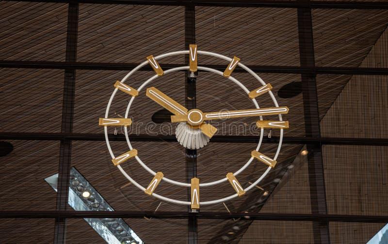 Rotterdam Centraal, Klokclose-up bij de Centrale post de bouwingang stock afbeelding
