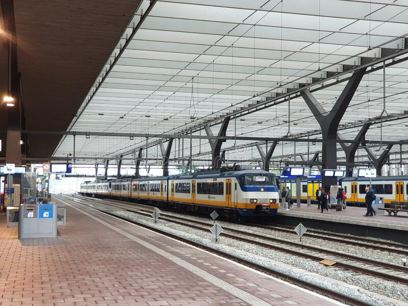 Rotterdam Centraal station with national and international train like the SGM local sprinter commuter royalty free stock photos