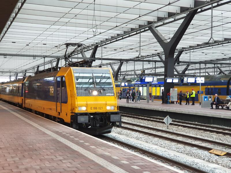 Rotterdam Centraal station with national and international train like the traxx with intercity direct to Brussels royalty free stock photos