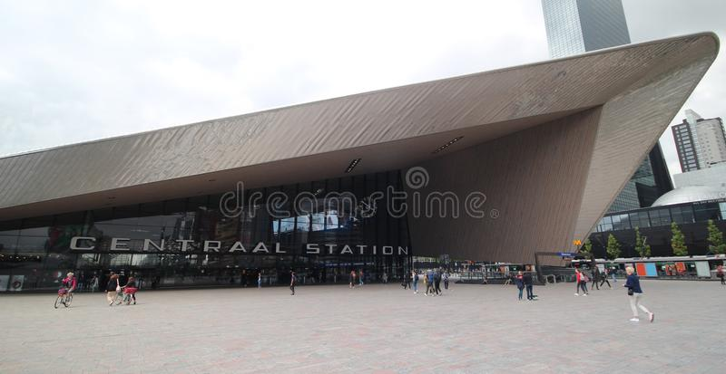 Rotterdam central station for national en international train traffic opened in 2014 royalty free stock photos