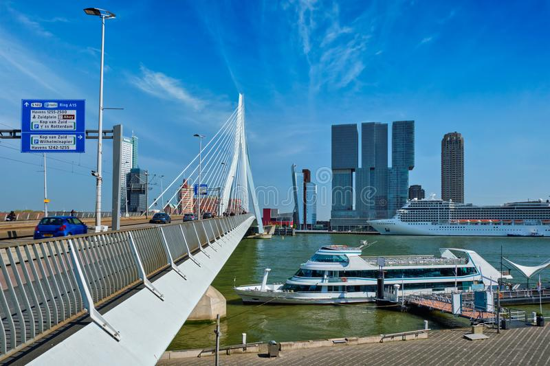 Rotterdam Cityscape With Erasmus Bridge And Boat Editorial ...