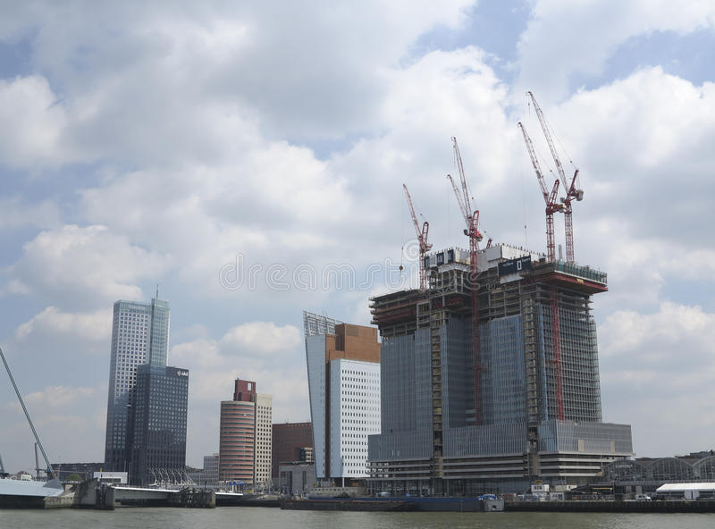 Rotterdam construction and skyline royalty free stock image
