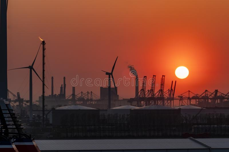 The Rotterdam harbour during sunset - Netherlands stock image