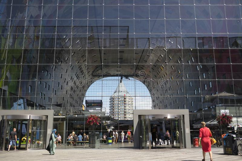Looking from the backside of the Markthal building through the glass windows to the Pencil royalty free stock images