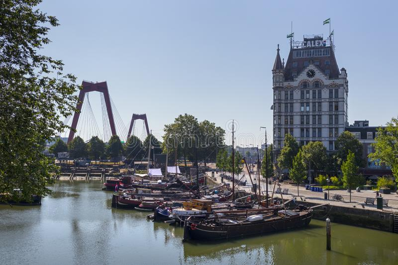 Oude Haven, Old Port, part of the Maritime District with historical ships, with the white royalty free stock images