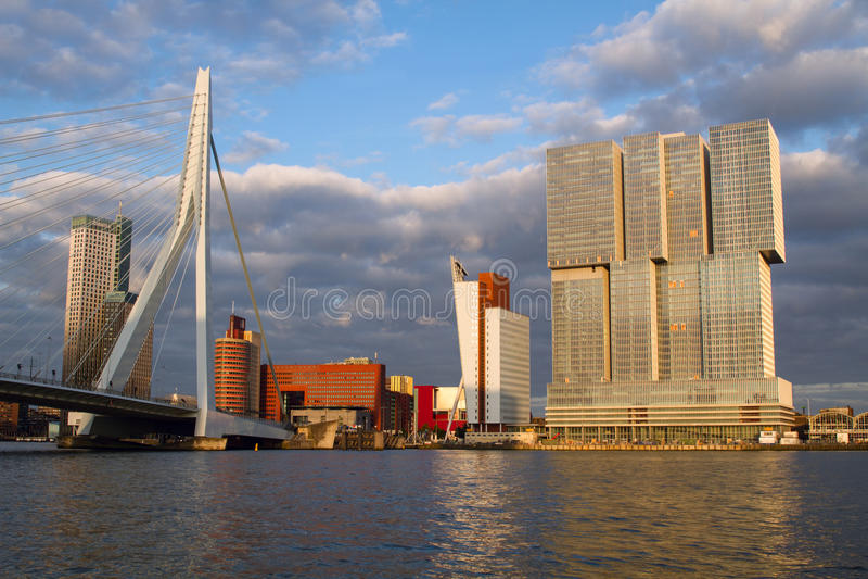 ROTTERDAM, HOLLAND Panoramic view over Erasmus Bridge and Rotterdam port. Holland. stock images