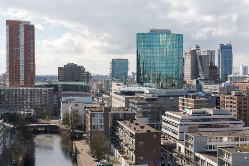 Rotterdam linia horyzontu w centrum widok z lotu ptaka zdjęcie stock