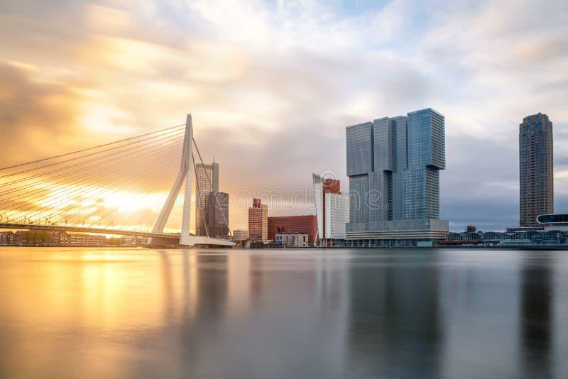 Rotterdam linia horyzontu z Erasmusbrug mostem w ranku, Netherland zdjęcia stock