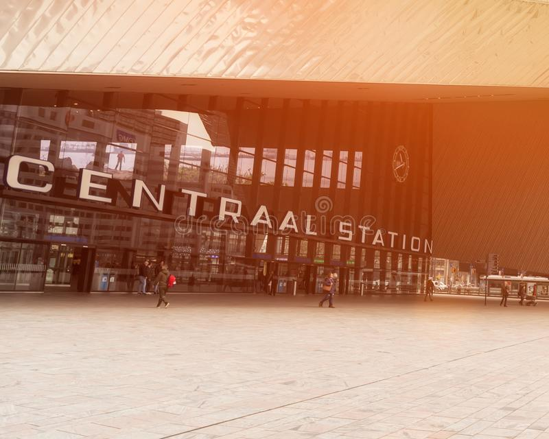 ROTTERDAM, NETHERLANDS - APRIL 13, 2018: Rotterdam Centraal is the main railway station of the city Rotterdam in the Netherlands. stock images