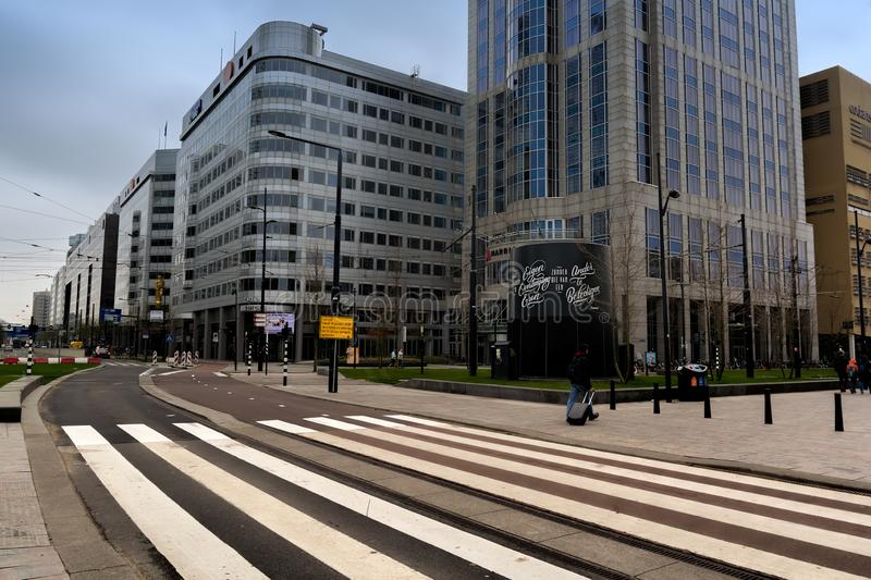 ROTTERDAM, NETHERLANDS - APRIL 13, 2018: Rotterdam city centre with futuristic buildings near Rotterdam Centraal station. stock photos