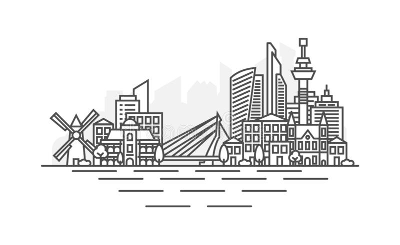 Rotterdam, Netherlands architecture line skyline illustration. Linear vector cityscape with famous landmarks, city. Sights, design icons. Landscape with vector illustration